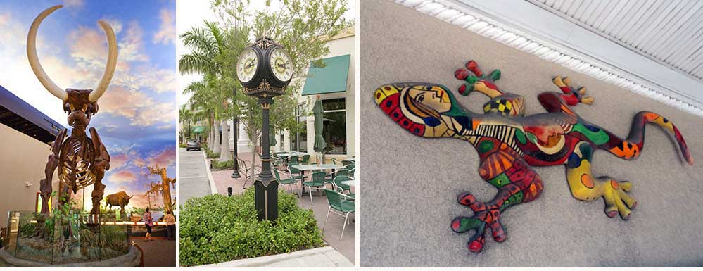 Three image collage including wooly mammoth skeleton at the South Florida Museum, clock on Main Street and downtown street view in Bradenton, Florida