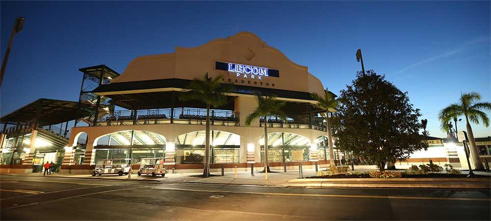 Exterior photo of LECOM Park baseball stadium in Bradenton, Florida