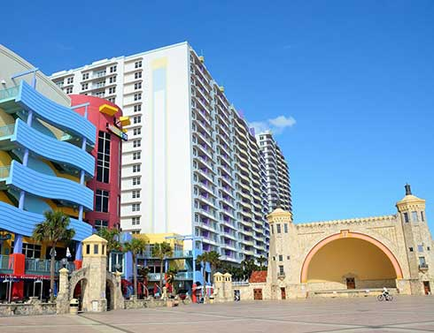 Ocean Walk Shoppes and tall buildings at Daytona Beach, Florida