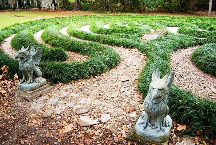 Griffins by labyrinth at Kanapaha Botanical Gardens, Gainesville, Florida