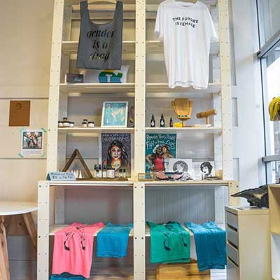 Shirts and other goods for sale at The Qulture Collective in Oakland, California