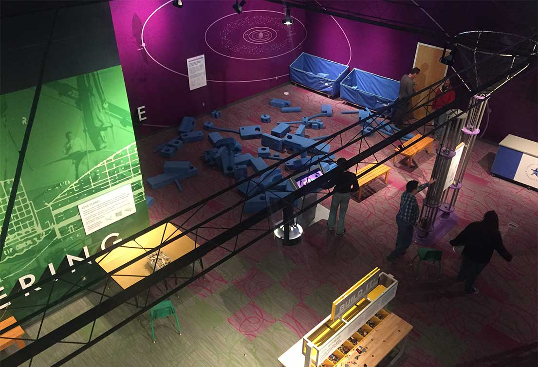 A bird's-eye view of hands-on learning displays at The Children's Learning Center at the Strategic Air Command & Aerospace Museum in Omaha, Nebraska