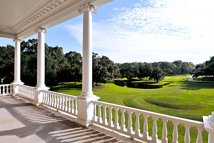 A view of Drayton Hall's Great Lawn from its balcony in Charleston, South Carolina