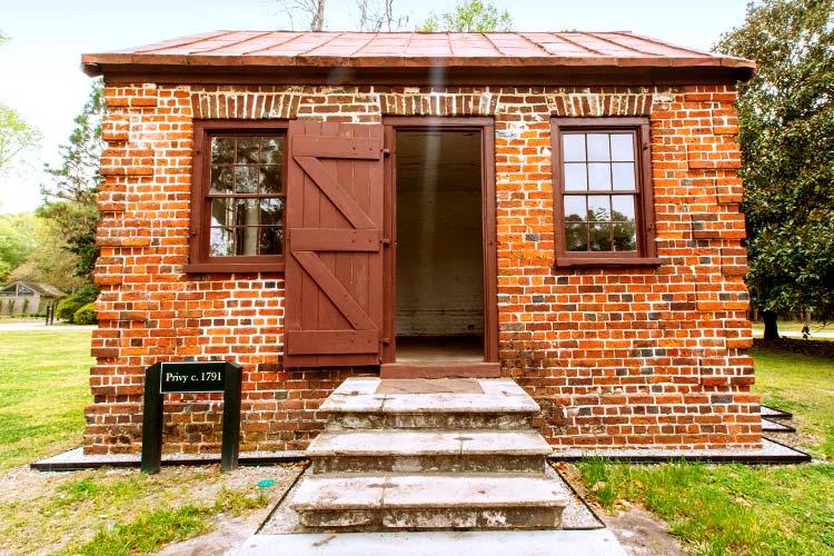 Exterior of the Drayton Hall privy in Charleston, South Carolina