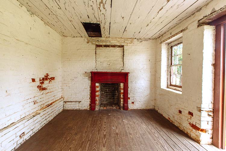 Fireplace in the Drayton Hall privy in Charleston, South Carolina