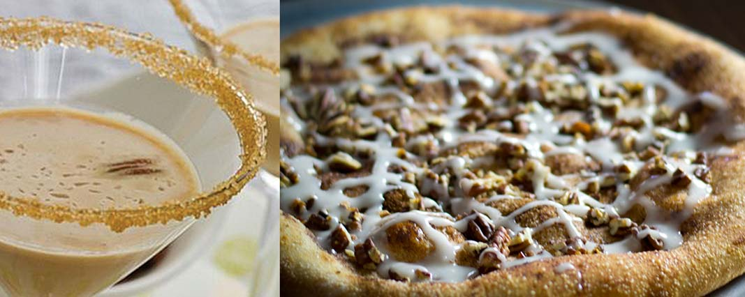 Brown sugar and crushed pecan garnish the rim of a pecan pie martini on the South Carolina Pecan Trail in Florence; Dessert pecan Danish pizza along the Florence, South Carolina Pecan Trail