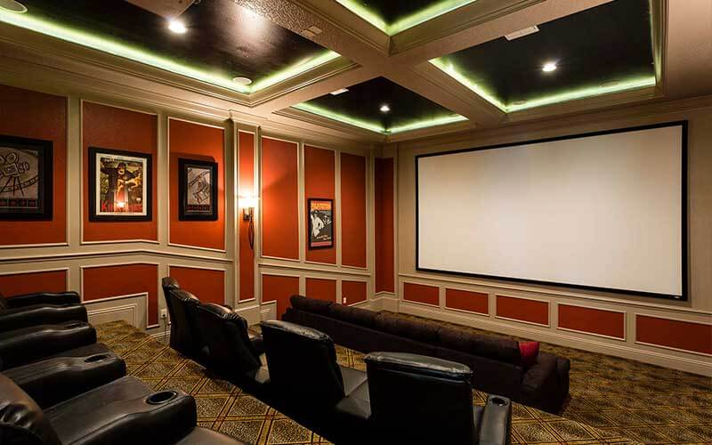 A home theater in a Jeeves vacation home in Kissimmee, FL
