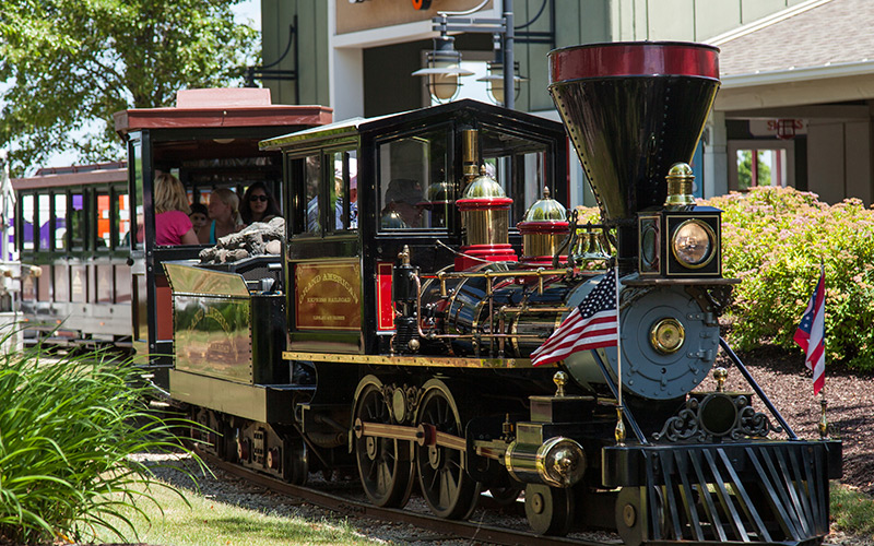 A train with families at Ohio Station Outlets in Medina, OH