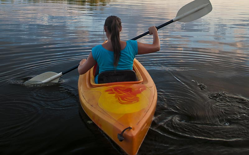 Woman kayaking in Florida