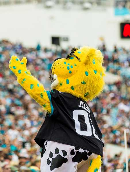 The Jacksonville Jaguars' mascott entertaining the crowd at the TIAA Bank Field in Jacksonville, FL