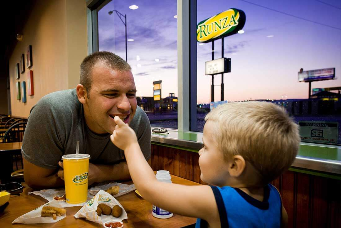 Father and son dine at Runza in Omaha.