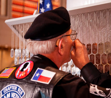 A United States veteran paying his respects in College Station, TX.