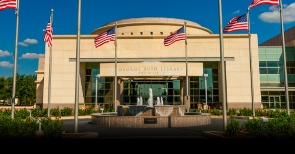 The exterior of the George Bush Presidential Library and Museum in College Station, TX.